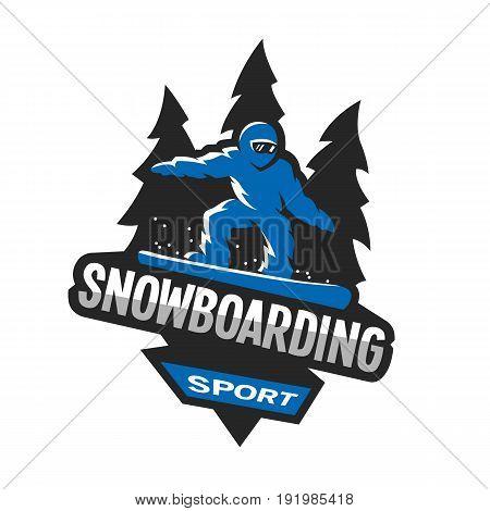 Snowboarding winter sports, logo, emblem Vector illustration