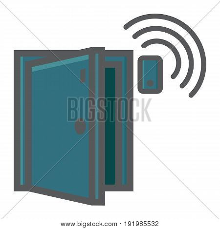 Door sensor colorful line icon, security and alarm, vector graphics, a filled pattern on a white background, eps 10.