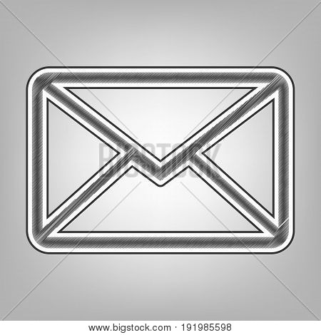 Letter sign illustration. Vector. Pencil sketch imitation. Dark gray scribble icon with dark gray outer contour at gray background.