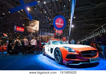 Cologne, Germany, August 13, 2014: Driveclub presentation on gamescon. Gamescom is a trade fair for video games held annually at the Koelnmesse in Cologne.