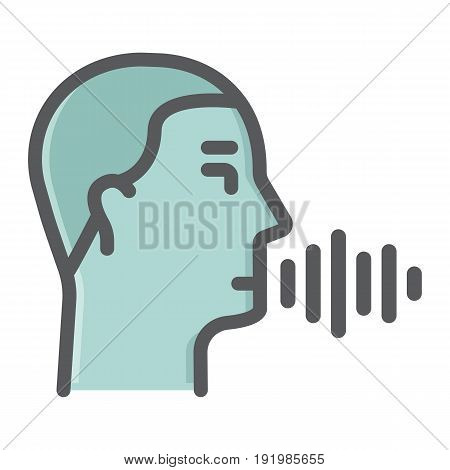 Speech recognition colorful line icon, voice control and security, vector graphics, a filled pattern on a white background, eps 10.
