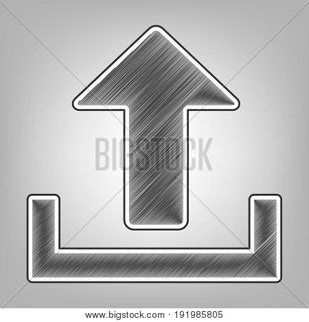 Upload sign illustration. Vector. Pencil sketch imitation. Dark gray scribble icon with dark gray outer contour at gray background.