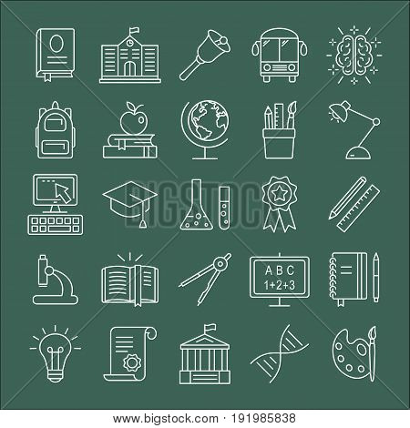 Education icons set. Outline icon collection - School education. Education simbols for web and graphic design. Line style logo. Vector illustration.