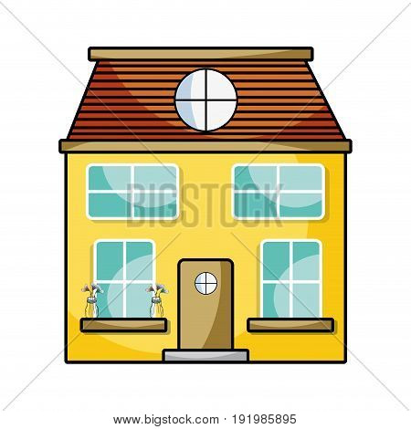 house with two floor to have a good home vector illustration