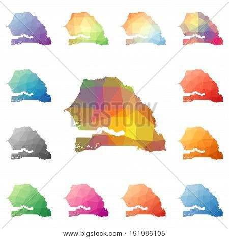 Senegal Geometric Polygonal, Mosaic Style Maps Collection. Bright Abstract Tessellation, Low Poly St