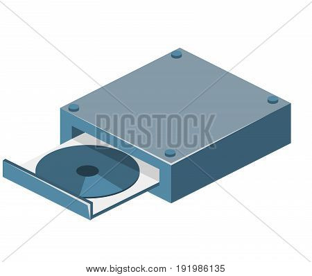 Isometric Flat 3D Isolated Vector Cd Disk Drive