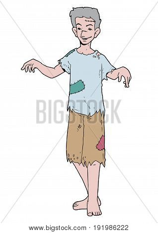 Illustration of young beggar male with scars