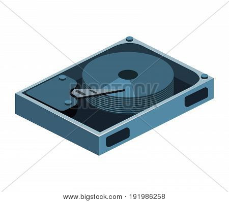 Isometric Flat 3D Isolated Concept Vector Opened Hard Drive Disk
