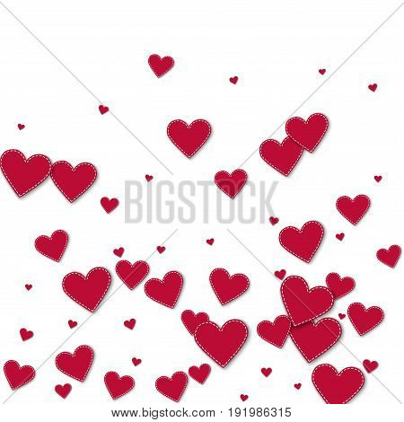 Red Stitched Paper Hearts. Bottom Gradient On White Background. Vector Illustration.