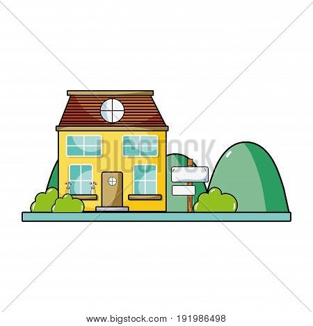 house next to mountains and trees vector illustration