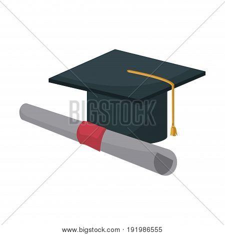 graduation cap and diploma education image vector illustration