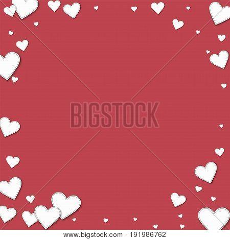 Cutout Paper Hearts. Corner Frame On Crimson Background. Vector Illustration.