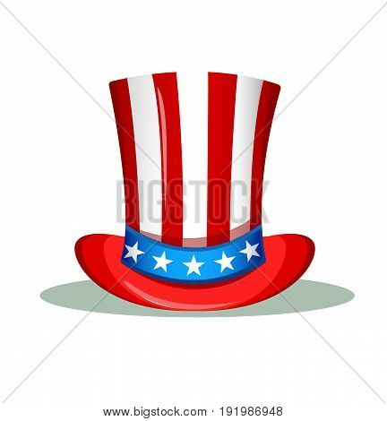 Uncle Sam hat for the 4th of July. USA Independence day greeting card. Patriotic vector illustration.