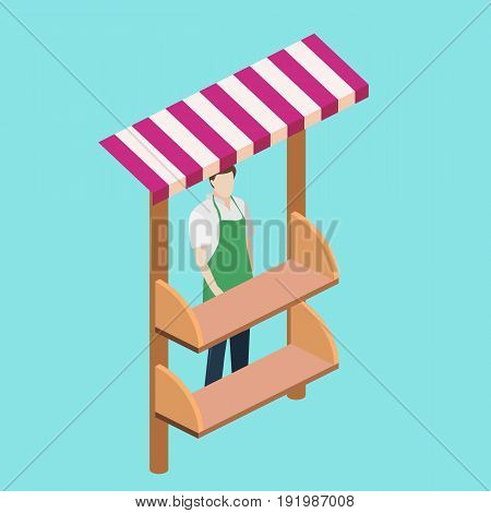 Isometric flat 3D isolated concept vector fruit stand. Produce shop keeper. Fruit and vegetables retail business owner working in his own store. Empty shelves