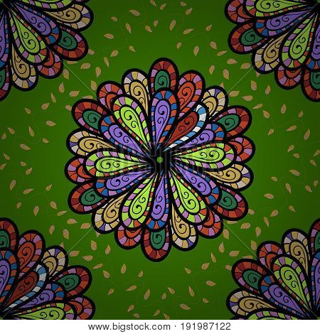 Boho style flower seamless pattern. Tiled mandala design best for print fabric or papper and more. Vector Mandala. Colorfil background.