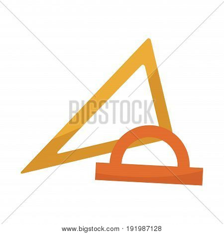 school set with ruler triangle protractor plactic supplies vector illustration