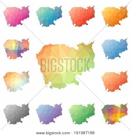 Cambodia Geometric Polygonal, Mosaic Style Maps Collection. Bright Abstract Tessellation, Low Poly S