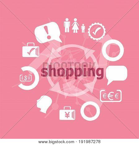 Text Shopping. Business Concept . Set Of Flat Icons For Mobile App And Web