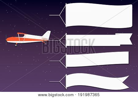 Flying Advertising Banner. Plane With Horizontal Banners In Night Outer Space Background