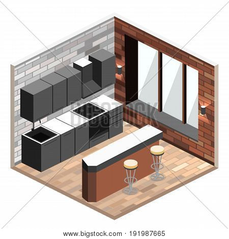 kitchen interior in isometric view. Illustration of loft apartment with brick wall.