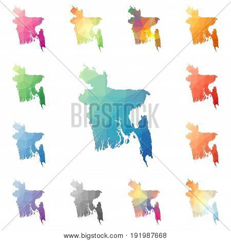 Bangladesh Geometric Polygonal, Mosaic Style Maps Collection. Bright Abstract Tessellation, Low Poly