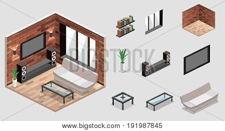 flat 3D isolated concept vector cutaway interior Living room interior in isometric view. loft apartment with brick wall.