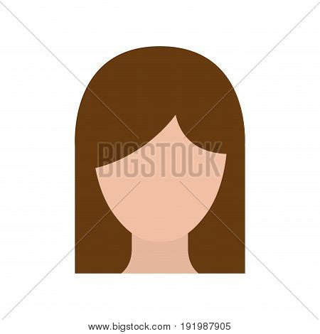 colorful silhouette faceless woman with straight medium hair vector illustration