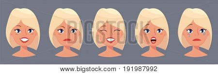 Young pretty blond woman cute faces with different emotions. Cartoon beautiful girl. Avatar business woman. Vector illustration.