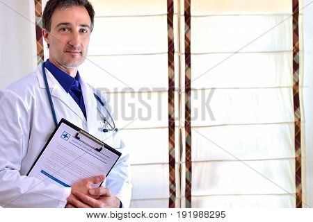 Caucasian General Doctor In Consultation Blind Background