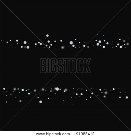 Beautiful Falling Snow. Scatter Lines With Beautiful Falling Snow On Black Background. Vector Illust