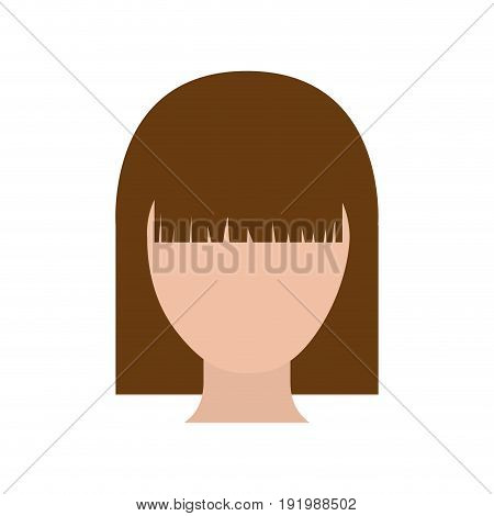 colorful silhouette faceless woman with straight hairstyle vector illustration