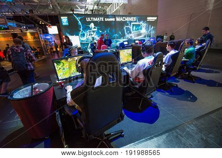Cologne, Germany, August 13, 2014: Players on gamescon. Gamescom is a trade fair for video games held annually at the Koelnmesse in Cologne.