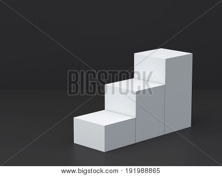 White cube boxes step with dark blank wall background for display. 3D rendering.