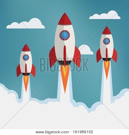 Startup illustration. Three rockets in the clouds. Flat style vector illustration.