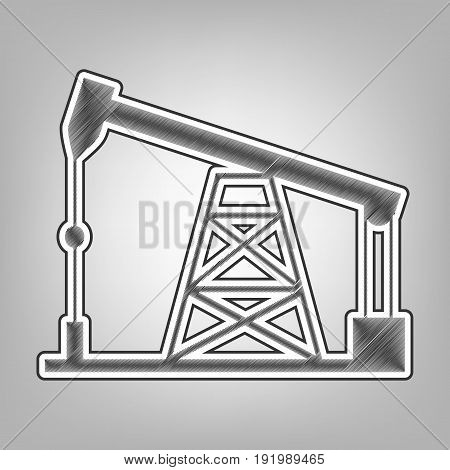 Oil drilling rig sign. Vector. Pencil sketch imitation. Dark gray scribble icon with dark gray outer contour at gray background.