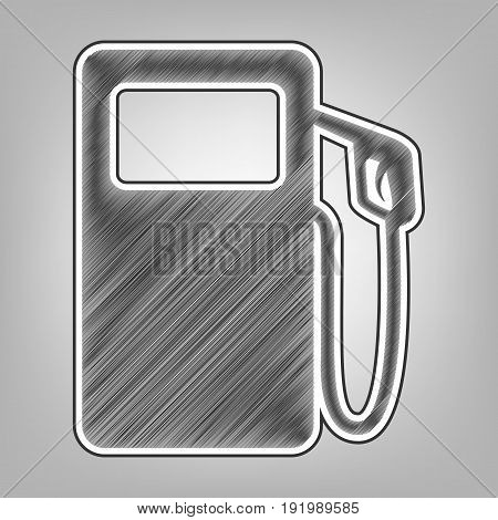 Gas pump sign. Vector. Pencil sketch imitation. Dark gray scribble icon with dark gray outer contour at gray background.