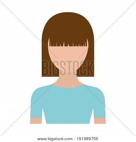 colorful silhouette faceless half body young woman with straight medium hairstyle vector illustration