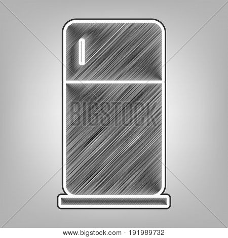 Refrigerator sign illustration. Vector. Pencil sketch imitation. Dark gray scribble icon with dark gray outer contour at gray background.