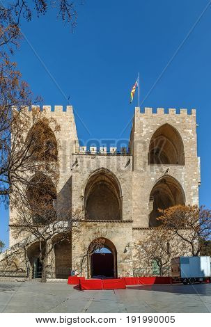 Torres de Serranos is one of the twelve gates that formed part of the ancient city wall of the city of Valencia Spain