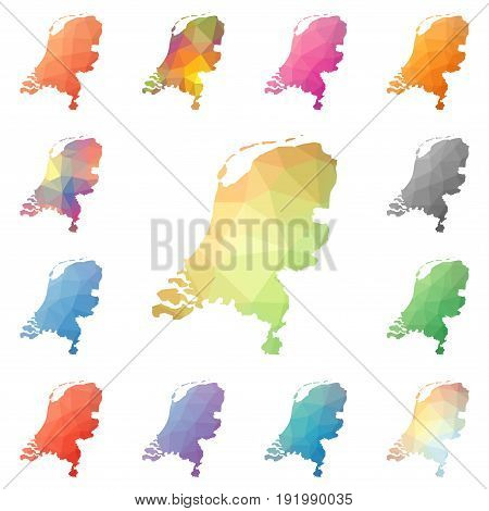 Netherlands Geometric Polygonal, Mosaic Style Maps Collection. Bright Abstract Tessellation, Low Pol
