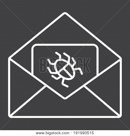 Virus in email line icon, spam and security, vector graphics, a linear pattern on a black background, eps 10.