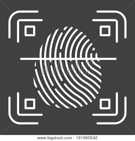 Fingerprint scanner line icon, id and security, vector graphics, a linear pattern on a black background, eps 10.