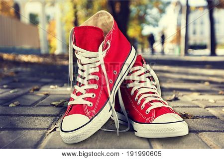 Red new pair sneakers sport background object