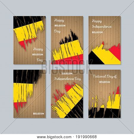 Belgium Patriotic Cards For National Day. Expressive Brush Stroke In National Flag Colors On Kraft P