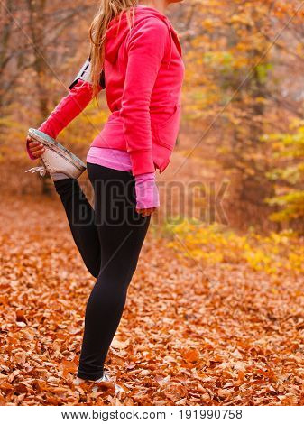 Fit Girl Doing Stretching Outdoor.