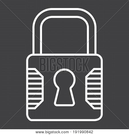Padlock line icon, security and lock, vector graphics, a linear pattern on a black background, eps 10.