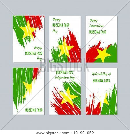 Burkina Faso Patriotic Cards For National Day. Expressive Brush Stroke In National Flag Colors On Wh