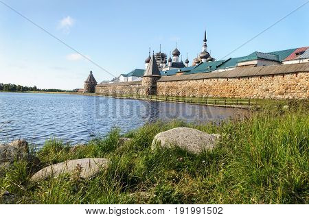 Spaso-Preobrazhensky monastery on Solovetsky Islands Russia. View from the Holy Lake. UNESCO World Heritage Site.