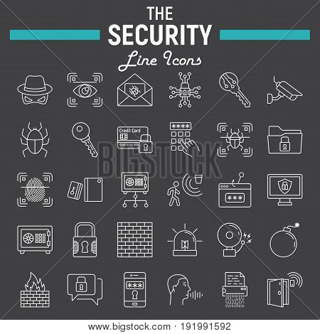 Security line icon set, cyber protection symbols collection, safety vector sketches, logo illustrations, linear pictograms package isolated on black background, eps 10.