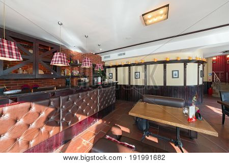 MOSCOW - AUGUST 2014: Interior of a luxury disco bar restaurant with a banquet hall and cafeteria -